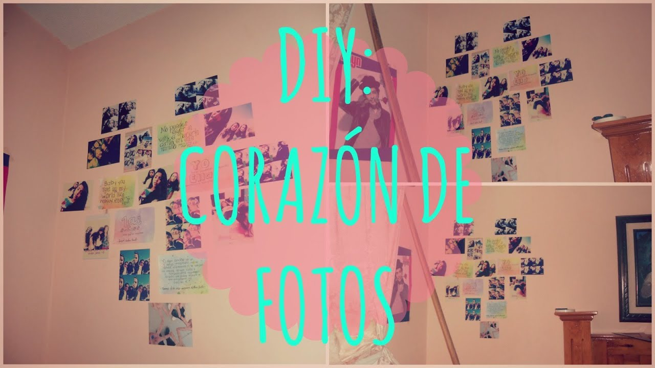 Diy coraz n de fotos collage de fotos youtube - Collage de fotos para pared ...