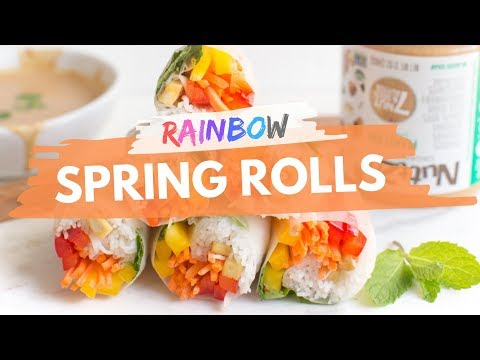 Rainbow Spring Rolls + Nut Butter Dipping Sauce