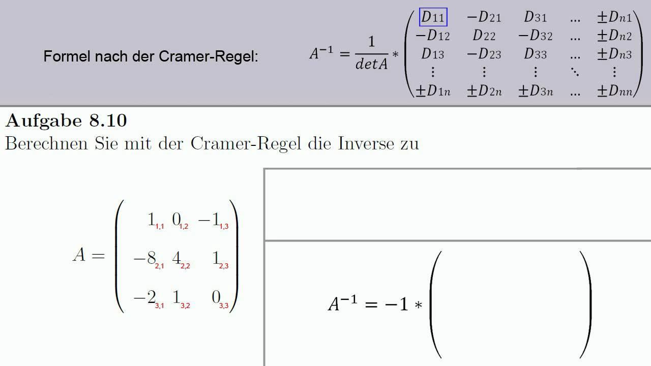 aufgabe  lineare algebra cramer inverse matrix
