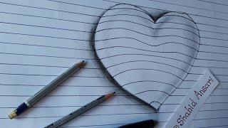 Drawing heart 3D Trick art on line paper | 3D illusion | Easy 3D art for kids