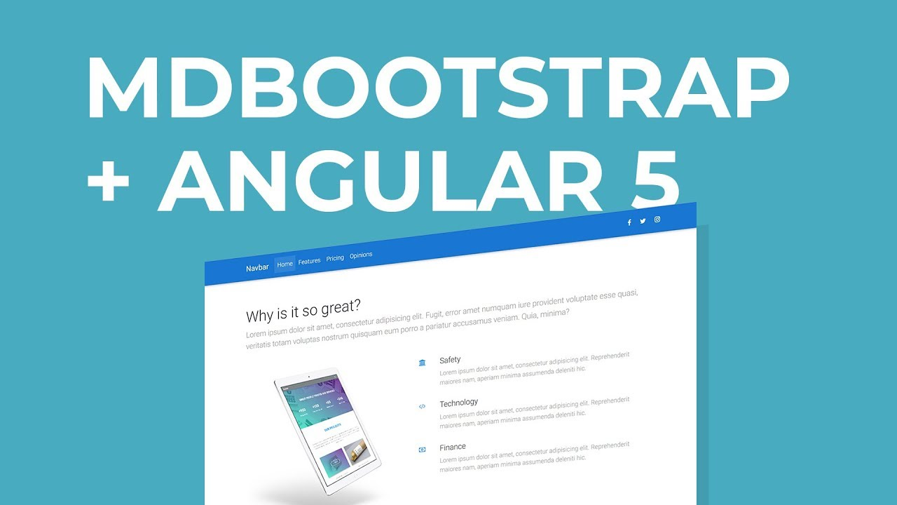 MdBootstrap Tutorial - Integrating Material Design, Bootstrap 4 & Angular 5
