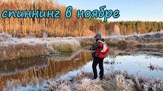 Спиннинг в ноябре Очень атмосферная рыбалка Сказочная лесная река