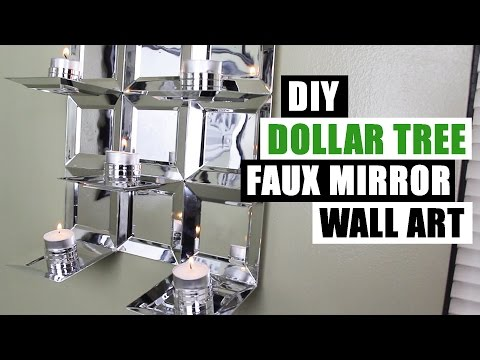 DIY DOLLAR TREE GLAM FAUX MIRROR WALL ART CANDLE HOLDER Easy Z Gallerie Inspired Cheap Mirror Decor