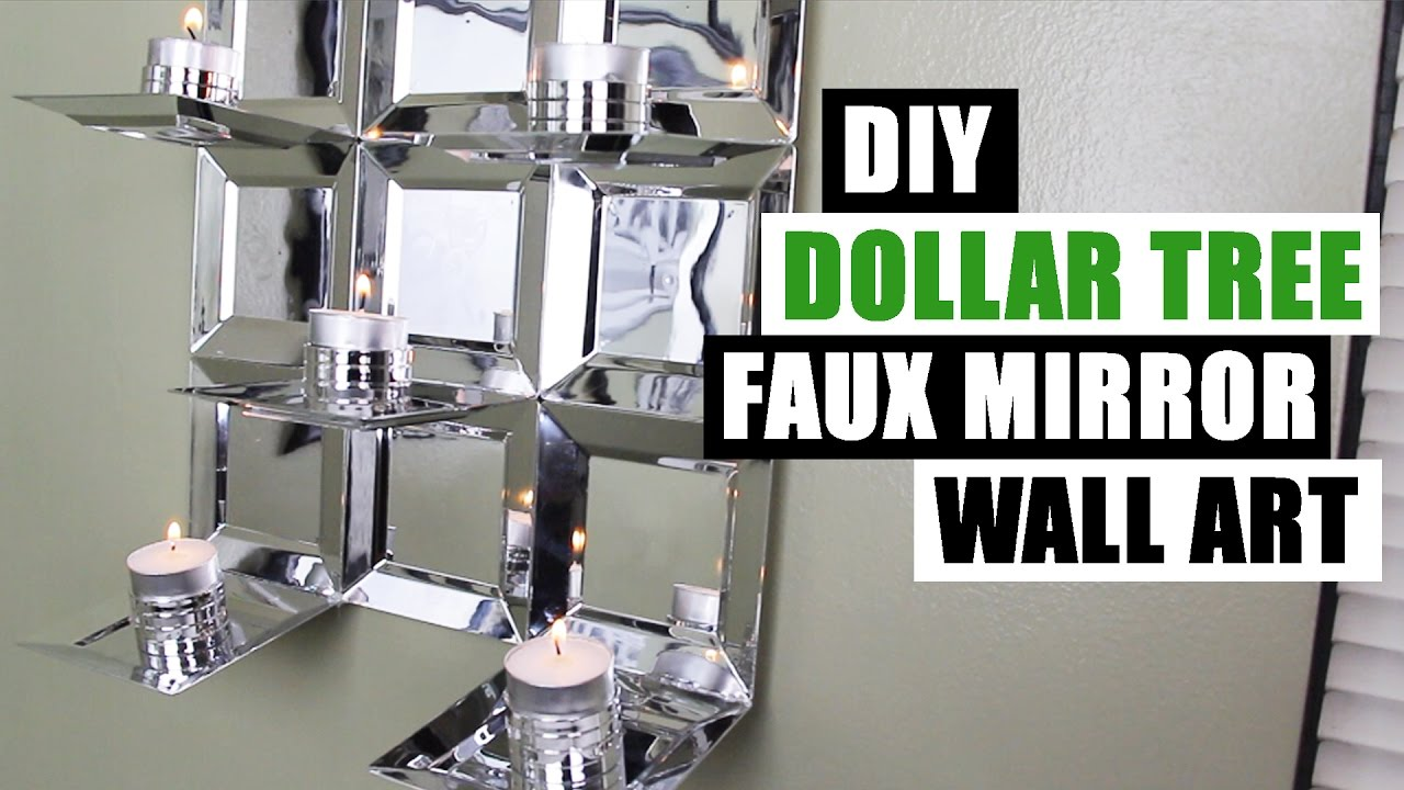DIY DOLLAR TREE GLAM FAUX MIRROR WALL ART CANDLE HOLDER ...