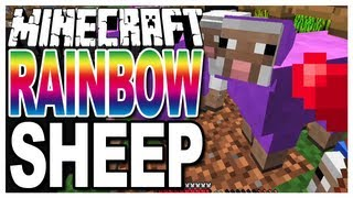 Minecraft - Rainbow Sheep - Growing Coloured/Colored Wool on Sheep