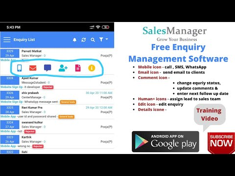 Free  enquiry management software Sales manager Mobile App for Maanage enquiry.training video