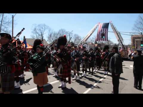 Bagpipes,Boston Firefighter Michael R. Kennedy Funeral West Roxbury MA