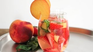 Rose Sangria With Strawberries, Peaches And Basil