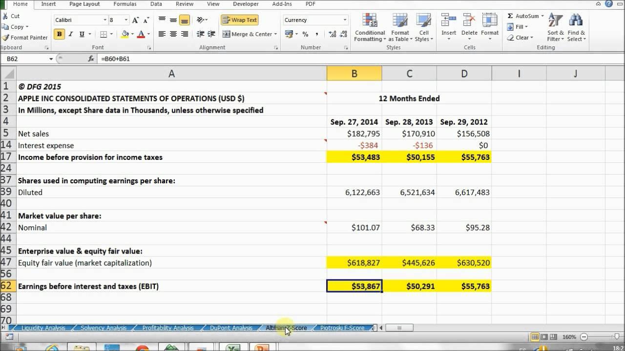 Altman Z Score with Excel