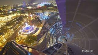 [4K] Disney California Screamin Coaster at Night - Disneyland Resort 2017