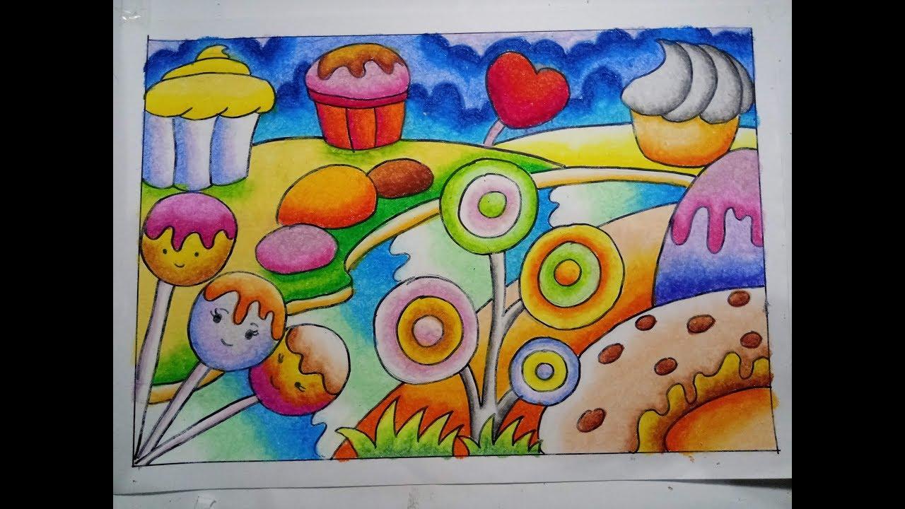 Mewarnai Candy land menggunakan cara Gradasi Crayon Oilpastel
