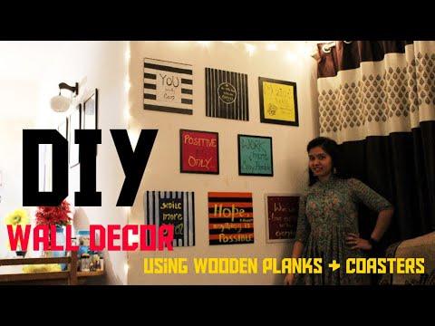 DIY Wall decor| Using Wooden Planks & Coasters | Living room decor tour | Satyam Vlogs