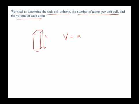 crystal structure, density, and atomic packing factor example problem