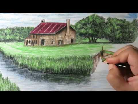 كيفية رسم منظر طبيعي بالالوان الخشبية من الخيال Youtube