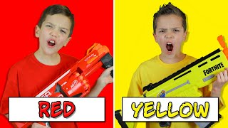 NERF BATTLE Using Only ONE Color with EXTREME Nerf Blasters! (Eli vs Liam Nerf Challenge 2)