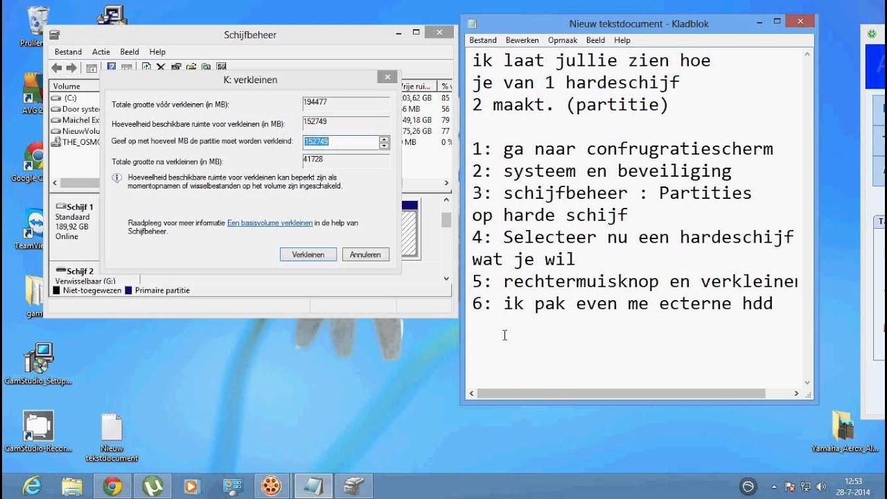 Harde Schijf Splitsen Windows 7.Partitie Maken 1 Hardeschijf 2 Maken Youtube