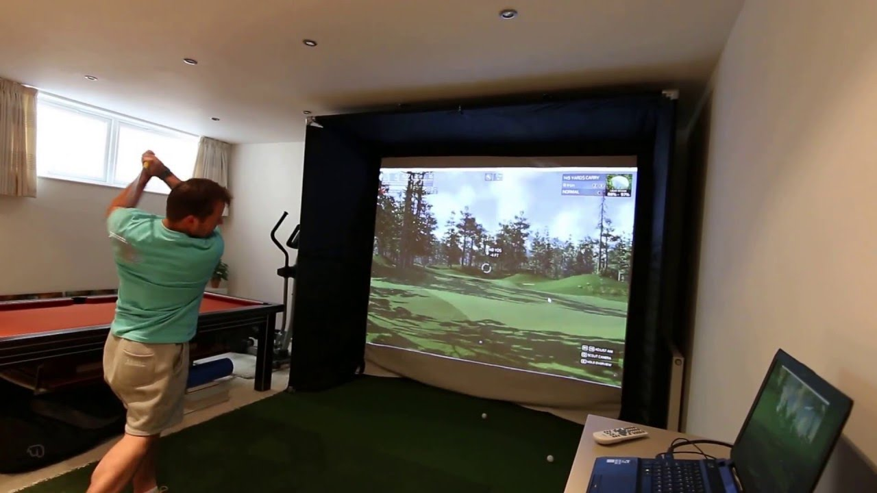 Skytrak home golf simulator with the golf club software for House decoration simulator