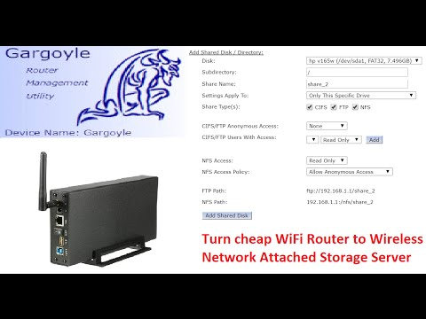 Turn WiFi router to NAS with Gargoyle USB Shared Disks function