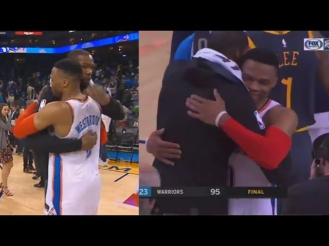 Kevin Durant Hugs Russell Westbrook and Both Shake Hands! Warriors vs Thunder