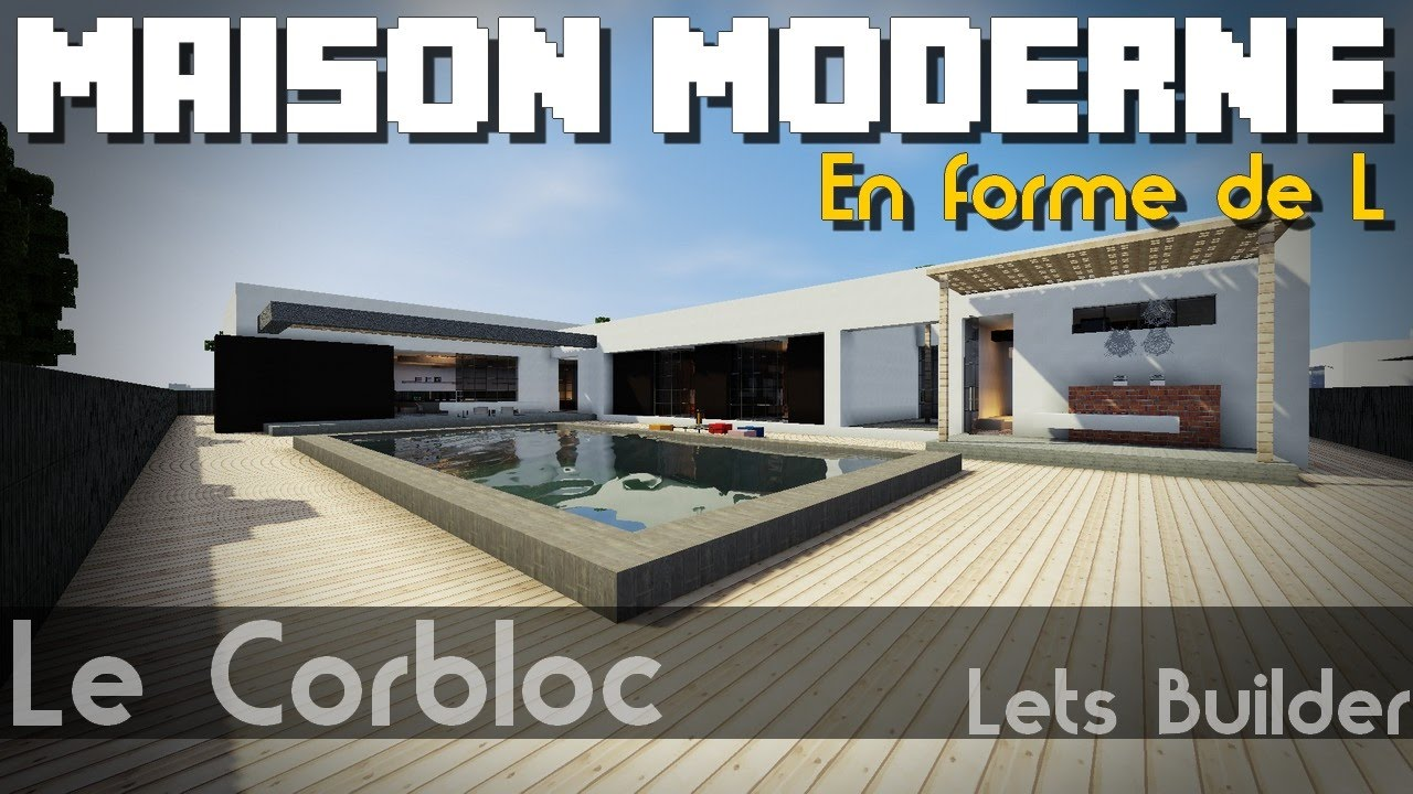 minecraft maison moderne en forme de l youtube. Black Bedroom Furniture Sets. Home Design Ideas