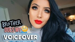 BROTHER DOES MY VOICEOVER | Holiday Red Lip & Bronze Eyes