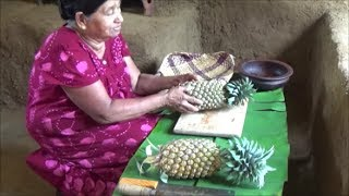 Healthy village food ❤ cooking pineapple curry in my village by my mom