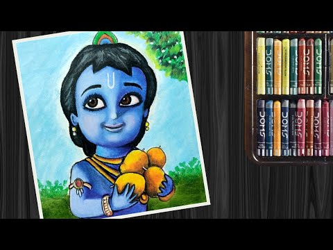 Little Krishna Drawing with oil pastels | Bal Krishna Drawing with mango | Janmashtami special