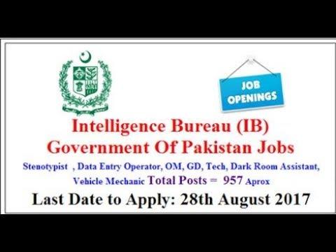 Intelligence Bureau, Government Of Pakistan Jobs 2017