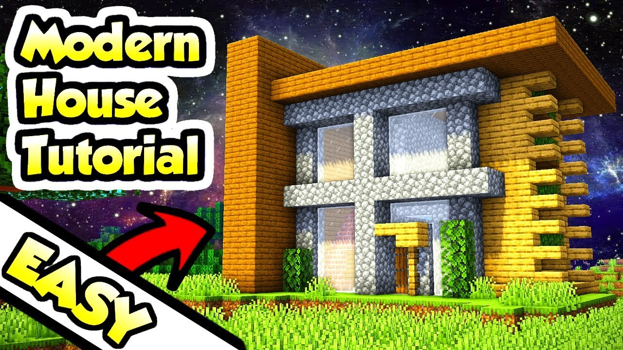Minecraft Easy Modern Survival House Tutorial How To Build Youtube