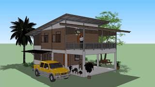 บ้านหลังคาเมทัลชีท หน้ากว้าง 6เมตร 2ห้องนอน ( No. 033 ) Sketchup by :  i.  pakdee