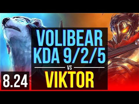 VOLIBEAR vs VIKTOR (TOP) | 3 early solo kills, KDA 9/2/5 | Korea Grandmaster | v8.24