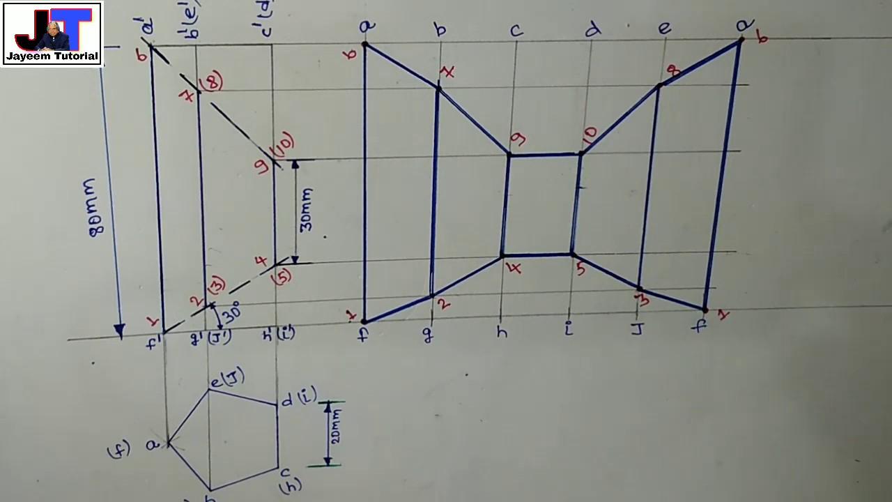 Development of surfaces (problem#5) pentagonal prism for ...