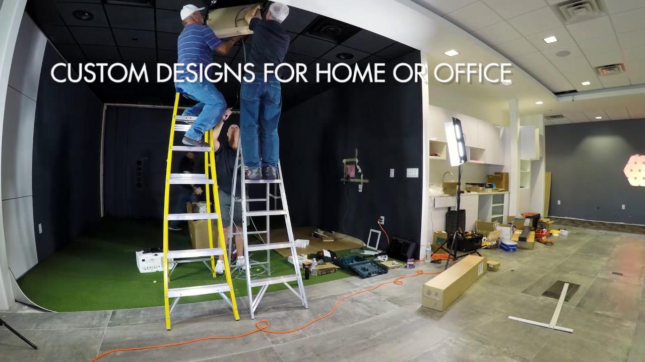 Indoor golf design custom golf simulator build timelapse for Indoor golf design