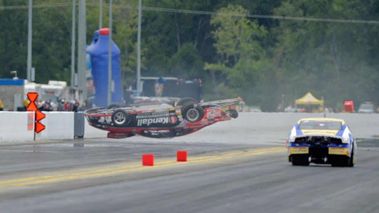 NHRA Pro Stock driver V Gaines wild crash in Charlotte - YouTube