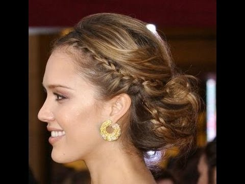 coiffure le chignon tress de jessica alba youtube. Black Bedroom Furniture Sets. Home Design Ideas