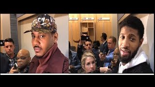 """Melo and Paul George speak on Steven Adams:""""no man can take him 1 on 1 in the paint"""""""