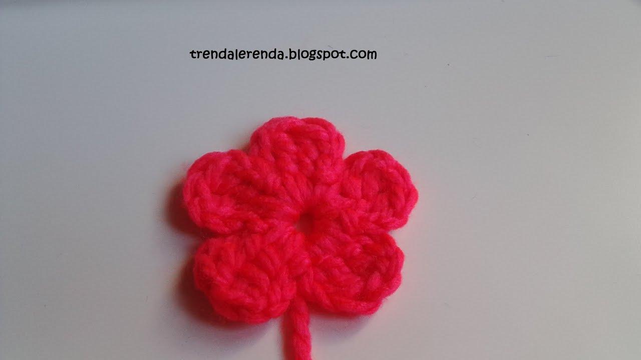 Tutorial flor fácil de crochet de 5 pétalos en 5 minutos - YouTube