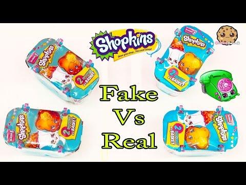 Fake Vs Real - 4 Shopkins Season 3 Surprise Blind Bag Packs Toy Unboxing Cookieswirlc Video