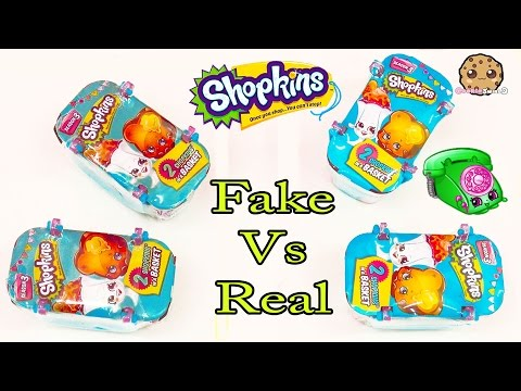 Fake Vs Real - 4 Shopkins Season 3 Surprise Blind Bag Packs Toy Unboxing Cookieswirlc Video