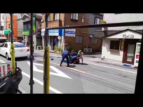 【ネコパンチ!】刃物男を警察官とクロネコヤマト従業員が捕獲する瞬間!