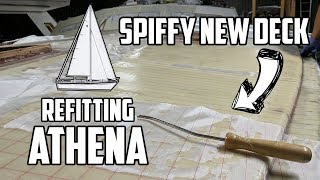 Sail Life - First layer of fiberglass on the new deck core - DIY sailboat refit