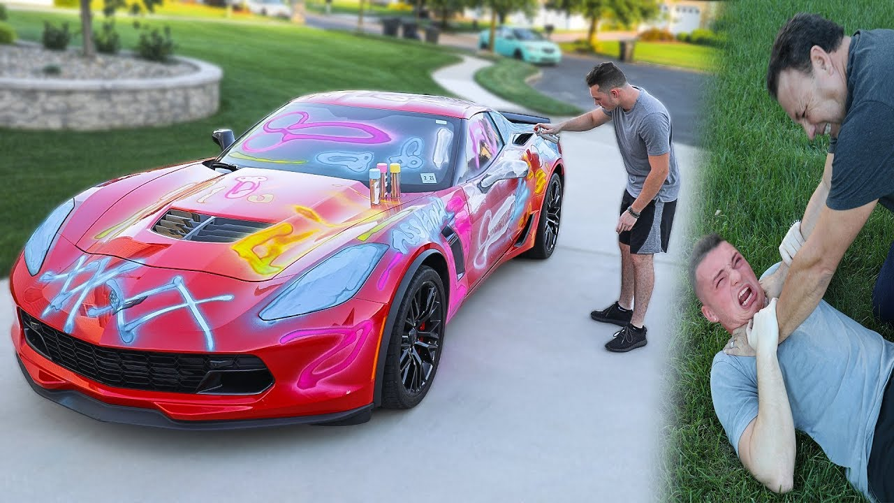 spray-painting-my-dads-corvette-z06-prank