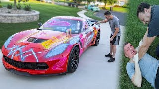 Spray Painting My Dads Corvette Z06 *Prank*