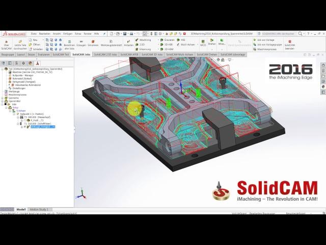 SolidCAM 2016 - 3DiMachining Kollisionsprüfung Spannmittel