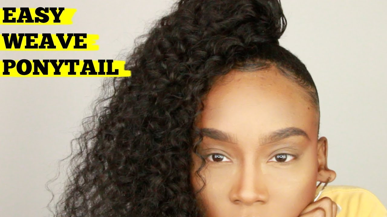 EASY Curly Ponytail With WEAVE