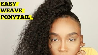 EASY Curly Ponytail With WEAVE | How I Lay My Edges | ft. Julia Hair