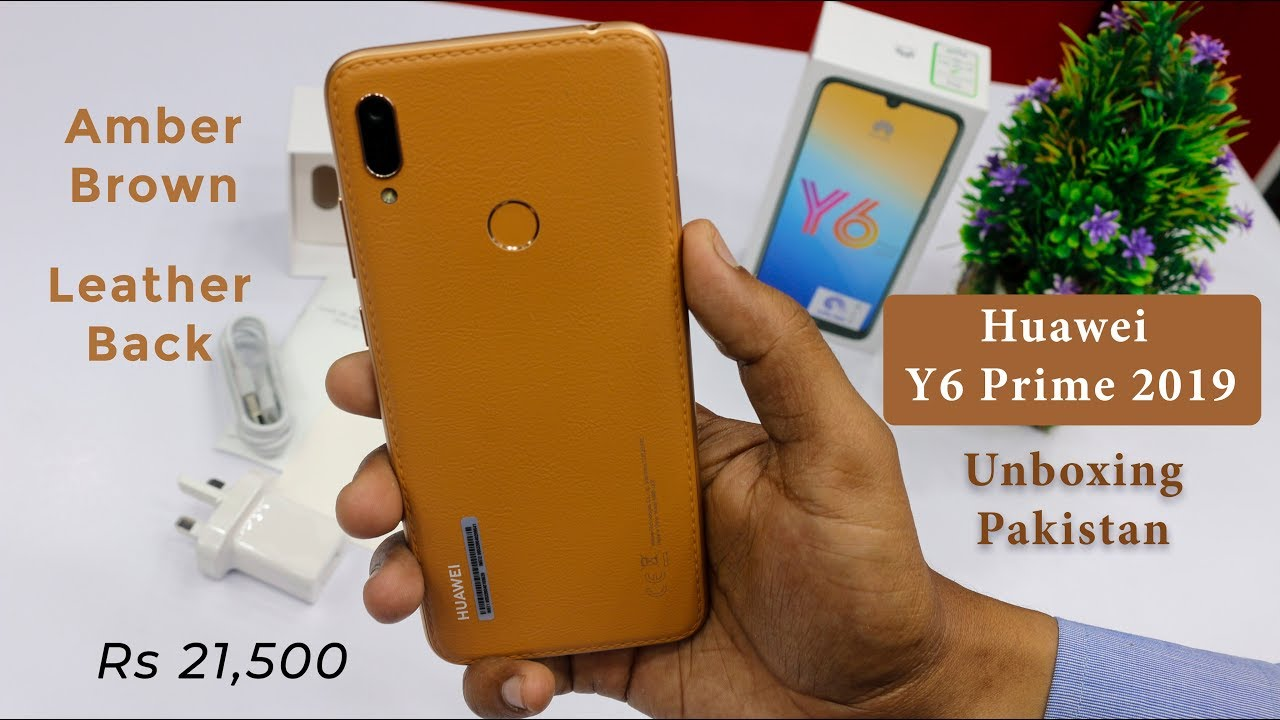 Huawei Y6 Prime 2019 Unboxing Amber Brown Color Leather Back