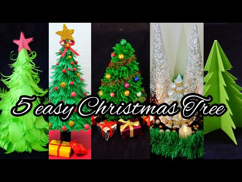 5 Easy Christmas tree ideas | Best out of waste | 5 min Craft | Holiday Craft | DIY christmas tree🌲