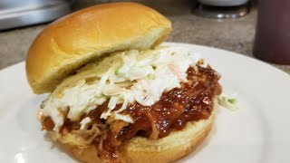 Homemade bbq sauce and pulled pork sandwiches