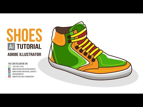 Flat Style Tutorial - How To Create Shoes Drawing Using Adobe Illustrator CC 2015
